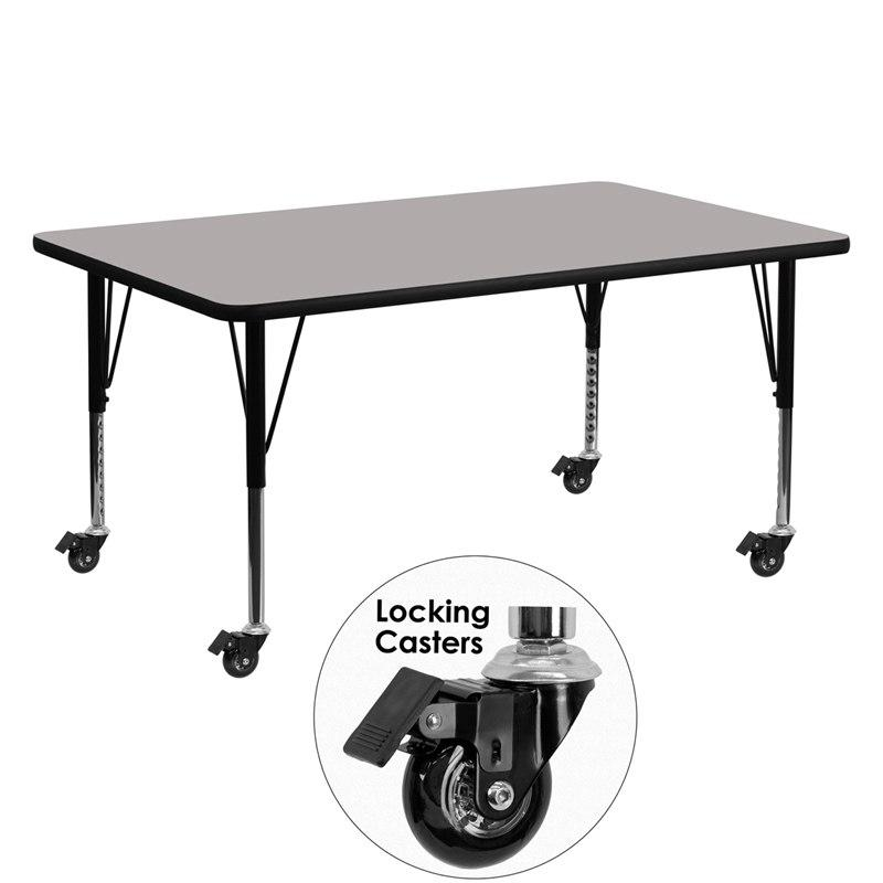 Flash Furniture XU-A2460-REC-GY-H-P-CAS-GG Mobile 24''W x 60''L Rectangular Grey HP Laminate Activity Table - Height Adjustable Short Legs