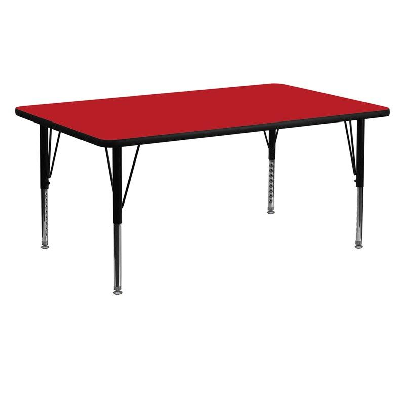 Flash Furniture XU-A2460-REC-RED-H-P-GG 24''W x 60''L Rectangular Red HP Laminate Activity Table - Height Adjustable Short Legs