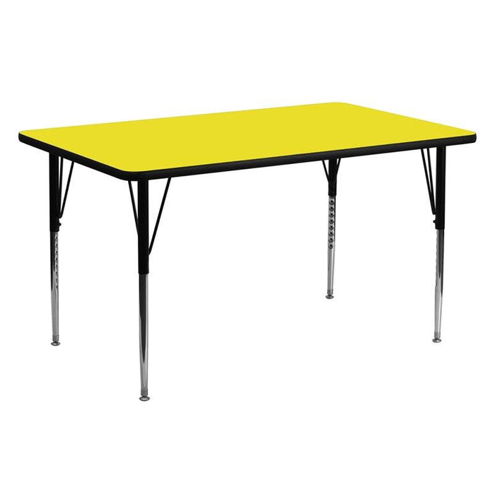 Flash Furniture XU-A2460-REC-YEL-H-A-GG 24''W x 60''L Rectangular Yellow HP Laminate Activity Table - Standard Height Adjustable Legs