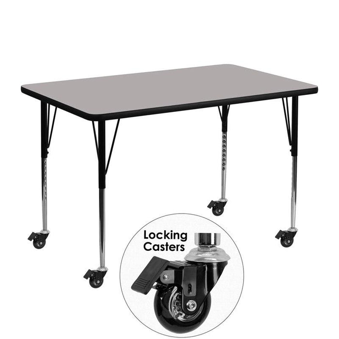 Flash Furniture XU-A3048-REC-GY-H-A-CAS-GG Mobile 30''W x 48''L Rectangular Grey HP Laminate Activity Table - Standard Height Adjustable Legs