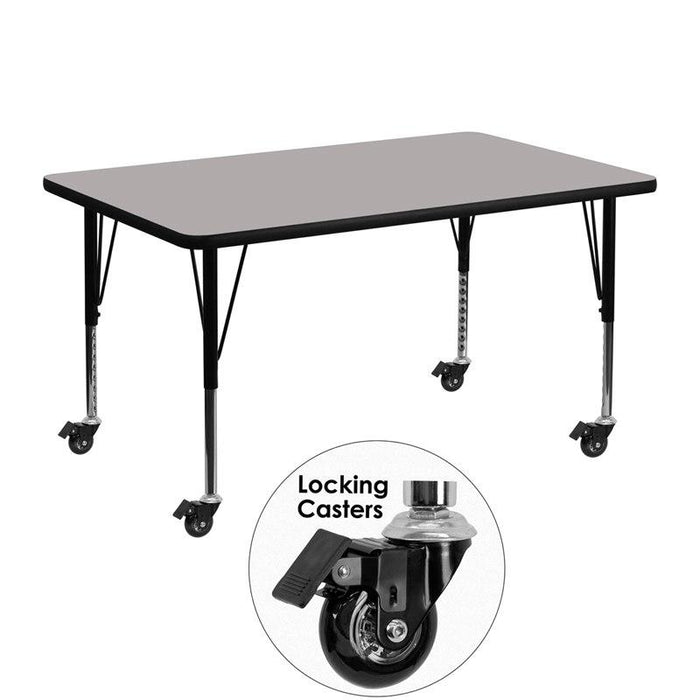 Flash Furniture XU-A3048-REC-GY-H-P-CAS-GG Mobile 30''W x 48''L Rectangular Grey HP Laminate Activity Table - Height Adjustable Short Legs