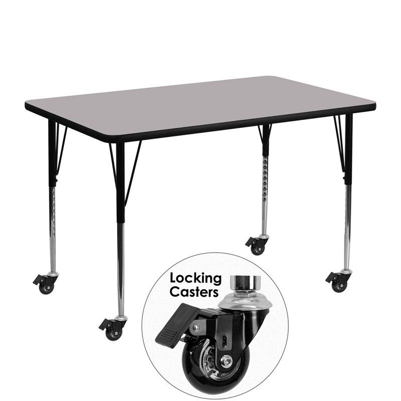 Flash Furniture XU-A3048-REC-GY-T-A-CAS-GG Mobile 30''W x 48''L Rectangular Grey Thermal Laminate Activity Table - Standard Height Adjustable Legs