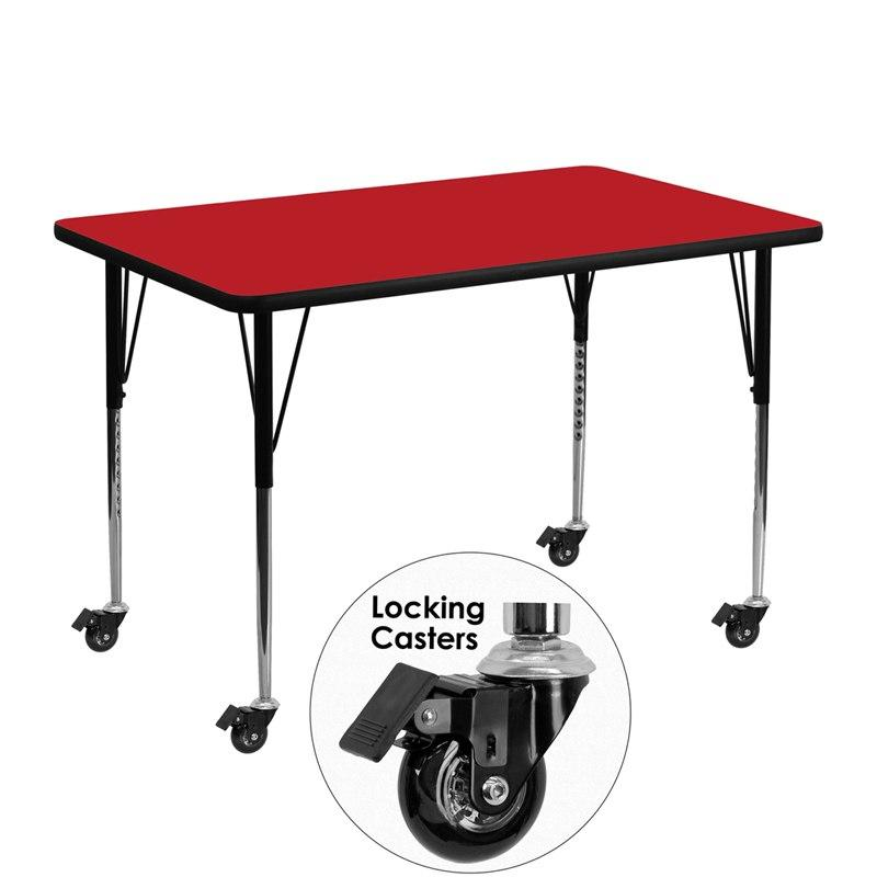 Flash Furniture XU-A3048-REC-RED-H-A-CAS-GG Mobile 30''W x 48''L Rectangular Red HP Laminate Activity Table - Standard Height Adjustable Legs