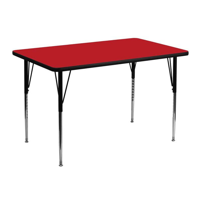 Flash Furniture XU-A3048-REC-RED-H-A-GG 30''W x 48''L Rectangular Red HP Laminate Activity Table - Standard Height Adjustable Legs