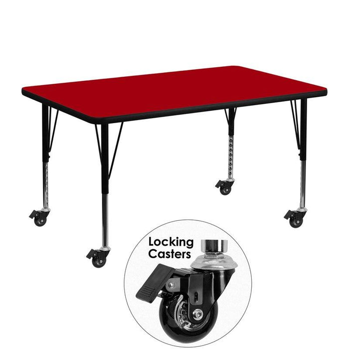 Flash Furniture XU-A3048-REC-RED-T-P-CAS-GG Mobile 30''W x 48''L Rectangular Red Thermal Laminate Activity Table - Height Adjustable Short Legs