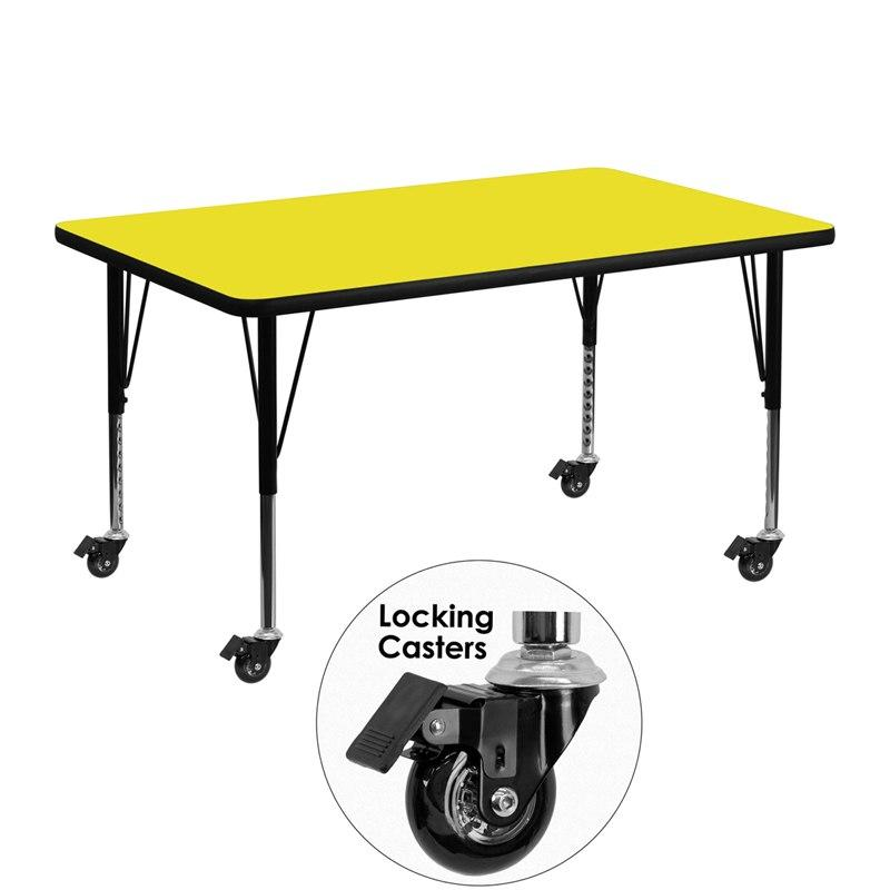 Flash Furniture XU-A3048-REC-YEL-H-P-CAS-GG Mobile 30''W x 48''L Rectangular Yellow HP Laminate Activity Table - Height Adjustable Short Legs