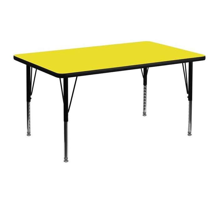 Flash Furniture XU-A3048-REC-YEL-H-P-GG 30''W x 48''L Rectangular Yellow HP Laminate Activity Table - Height Adjustable Short Legs