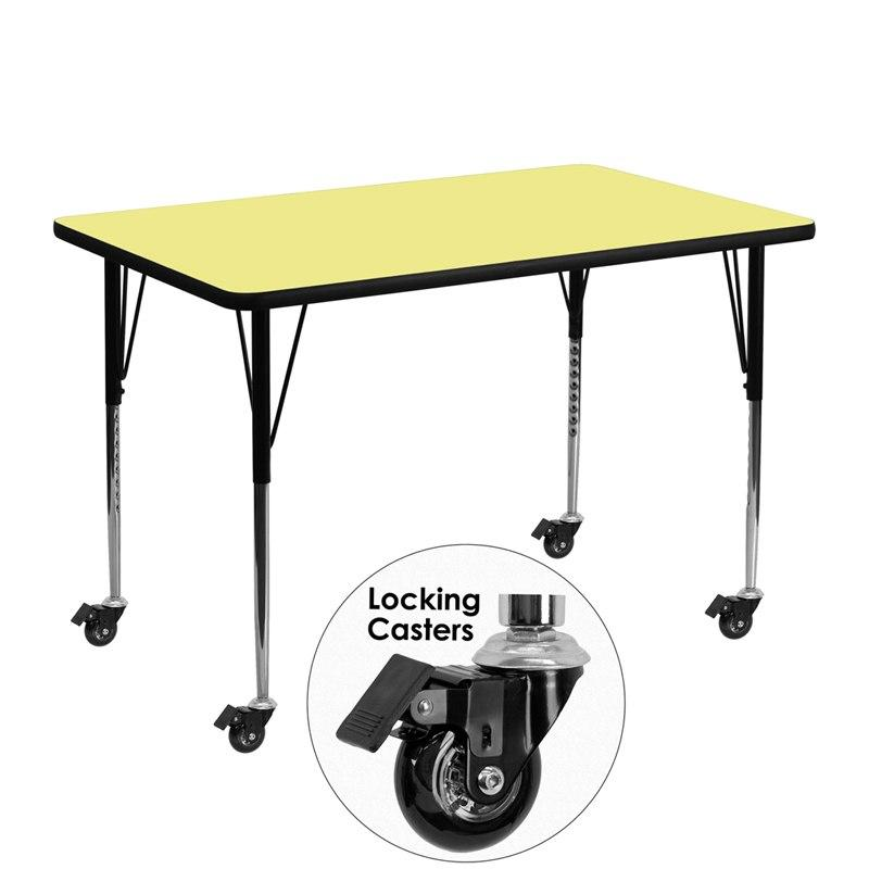 Flash Furniture XU-A3048-REC-YEL-T-A-CAS-GG Mobile 30''W x 48''L Rectangular Yellow Thermal Laminate Activity Table - Standard Height Adjustable Legs