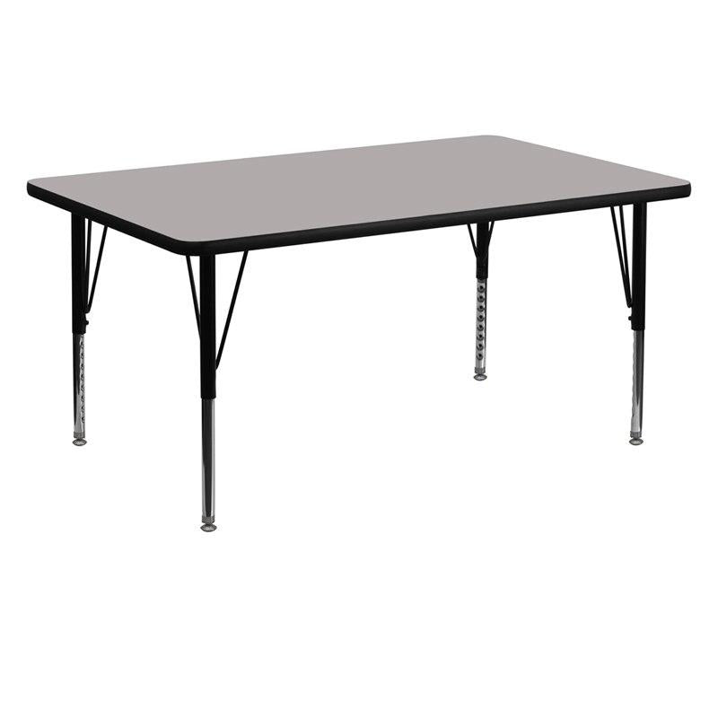 Flash Furniture XU-A3060-REC-GY-H-P-GG 30''W x 60''L Rectangular Grey HP Laminate Activity Table - Height Adjustable Short Legs