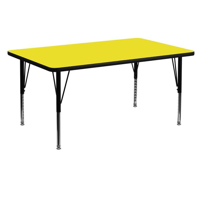Flash Furniture XU-A3060-REC-YEL-H-P-GG 30''W x 60''L Rectangular Yellow HP Laminate Activity Table - Height Adjustable Short Legs