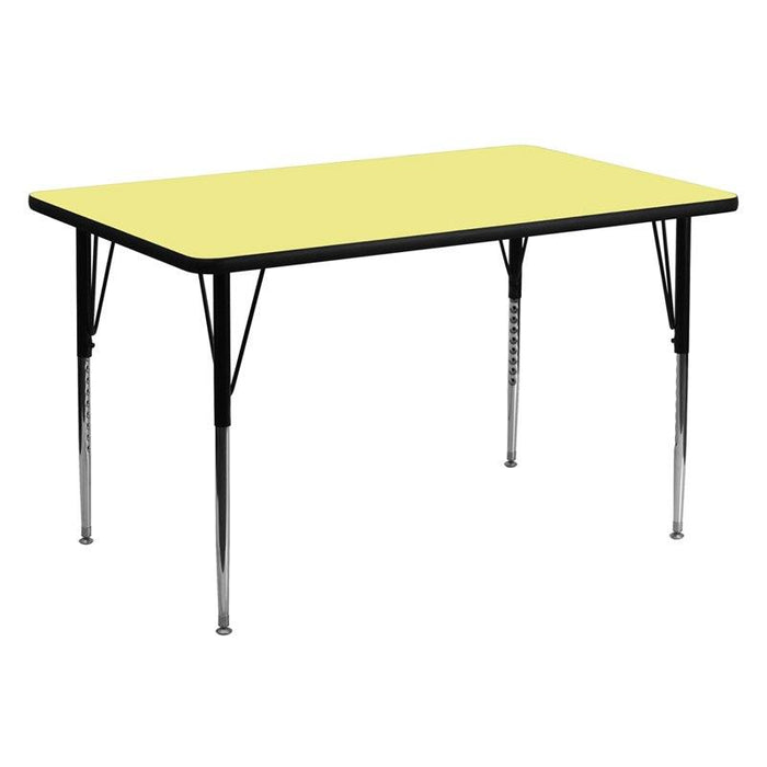 Flash Furniture XU-A3060-REC-YEL-T-A-GG 30''W x 60''L Rectangular Yellow Thermal Laminate Activity Table - Standard Height Adjustable Legs