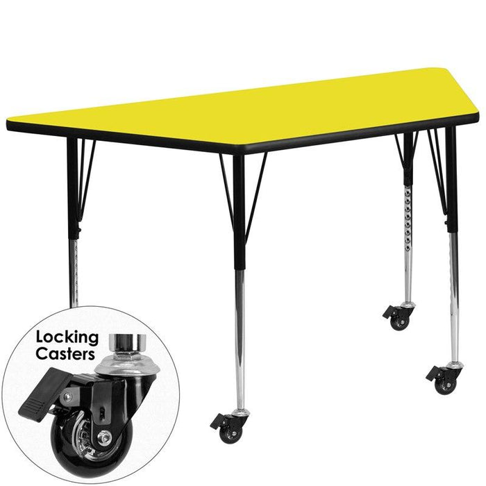 Flash Furniture XU-A3060-TRAP-YEL-H-A-CAS-GG Mobile 29.5''W x 57.25''L Trapezoid Yellow HP Laminate Activity Table - Standard Height Adjustable Legs