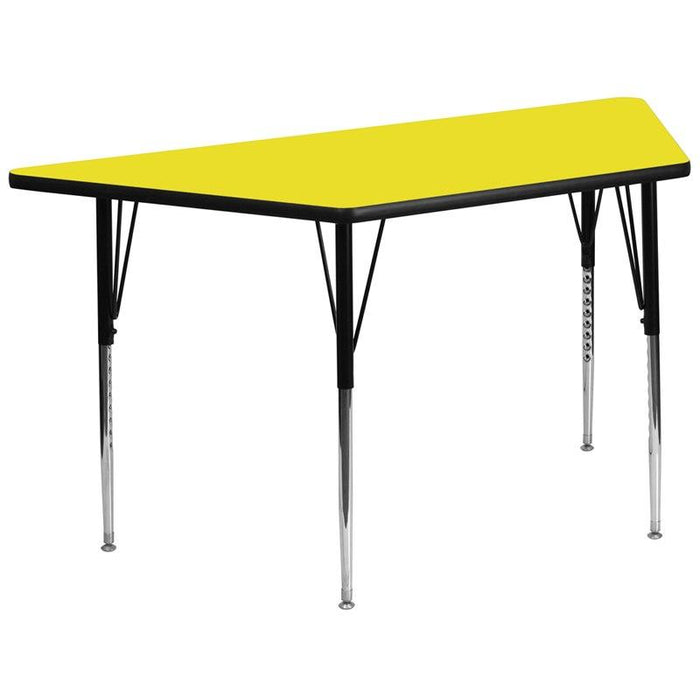 Flash Furniture XU-A3060-TRAP-YEL-H-A-GG 29.5''W x 57.25''L Trapezoid Yellow HP Laminate Activity Table - Standard Height Adjustable Legs