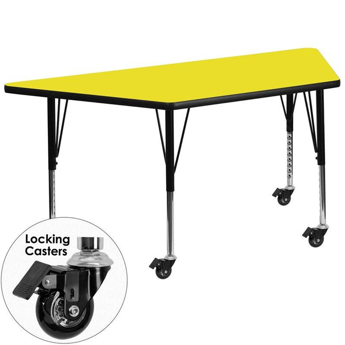 Flash Furniture XU-A3060-TRAP-YEL-H-P-CAS-GG Mobile 29.5''W x 57.25''L Trapezoid Yellow HP Laminate Activity Table - Height Adjustable Short Legs