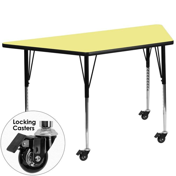 Flash Furniture XU-A3060-TRAP-YEL-T-A-CAS-GG Mobile 29.5''W x 57.25''L Trapezoid Yellow Thermal Laminate Activity Table - Standard Height Adjustable Legs