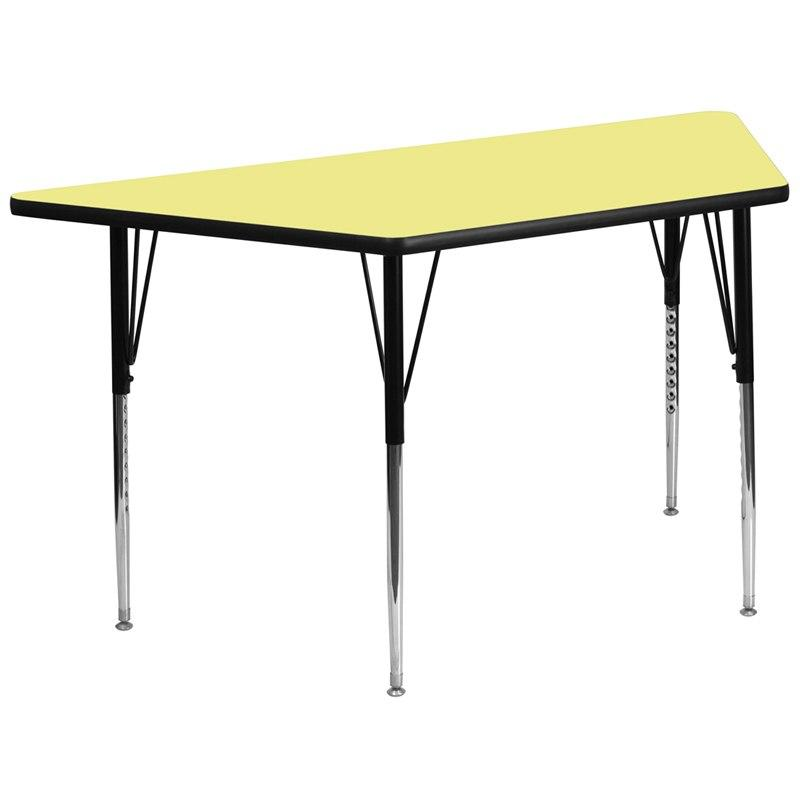 Flash Furniture XU-A3060-TRAP-YEL-T-A-GG 29.5''W x 57.25''L Trapezoid Yellow Thermal Laminate Activity Table - Standard Height Adjustable Legs