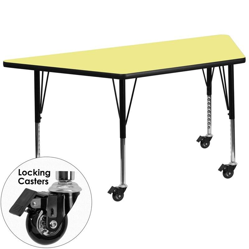 Flash Furniture XU-A3060-TRAP-YEL-T-P-CAS-GG Mobile 29.5''W x 57.25''L Trapezoid Yellow Thermal Laminate Activity Table - Height Adjustable Short Legs