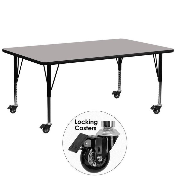 Flash Furniture XU-A3072-REC-GY-H-P-CAS-GG Mobile 30''W x 72''L Rectangular Grey HP Laminate Activity Table - Height Adjustable Short Legs