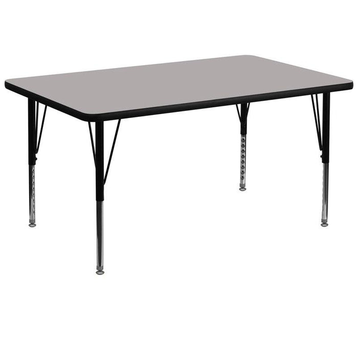 Flash Furniture XU-A3672-REC-GY-H-P-GG 36''W x 72''L Rectangular Grey HP Laminate Activity Table - Height Adjustable Short Legs