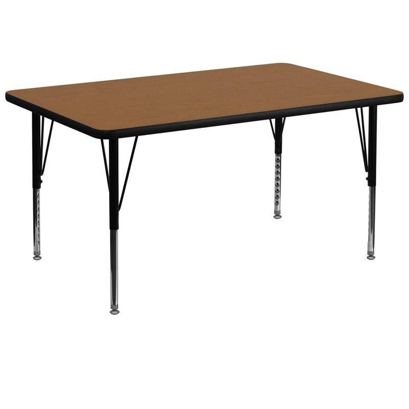 Flash Furniture XU-A3672-REC-OAK-T-P-GG 36''W x 72''L Rectangular Oak Thermal Laminate Activity Table - Height Adjustable Short Legs