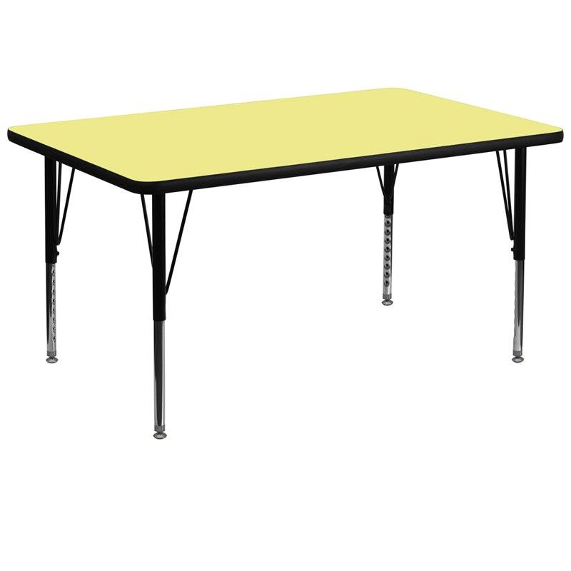 Flash Furniture XU-A3672-REC-YEL-T-P-GG 36''W x 72''L Rectangular Yellow Thermal Laminate Activity Table - Height Adjustable Short Legs