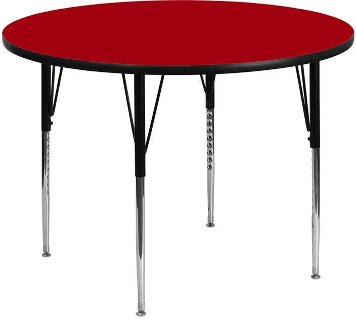 Flash Furniture XU-A48-RND-RED-T-A-GG 48'' Round Red Thermal Laminate Activity Table - Standard Height Adjustable Legs