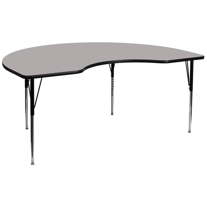 Flash Furniture XU-A4896-KIDNY-GY-H-A-GG 48''W x 96''L Kidney Grey HP Laminate Activity Table - Standard Height Adjustable Legs