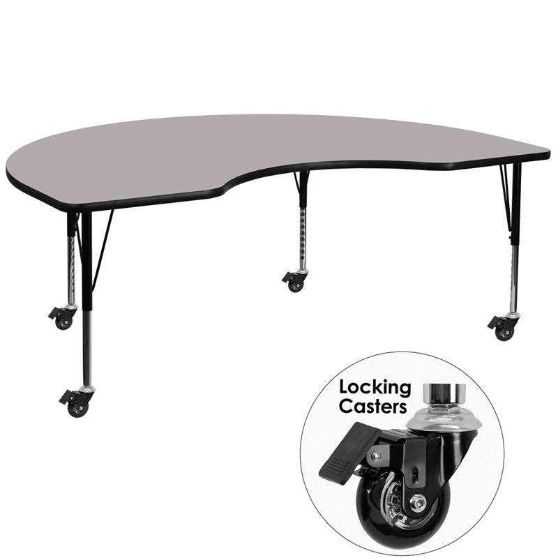Flash Furniture XU-A4896-KIDNY-GY-H-P-CAS-GG Mobile 48''W x 96''L Kidney Grey HP Laminate Activity Table - Height Adjustable Short Legs