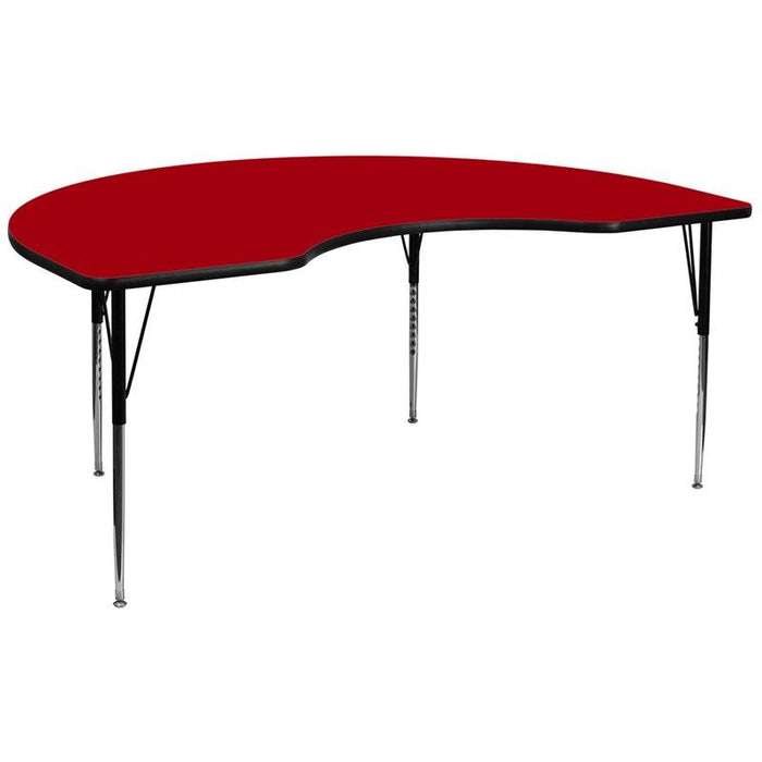 Flash Furniture XU-A4896-KIDNY-RED-T-A-GG 48''W x 96''L Kidney Red Thermal Laminate Activity Table - Standard Height Adjustable Legs