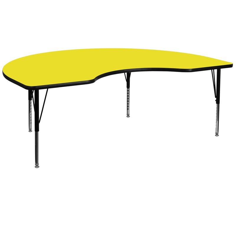 Flash Furniture XU-A4896-KIDNY-YEL-H-P-GG 48''W x 96''L Kidney Yellow HP Laminate Activity Table - Height Adjustable Short Legs