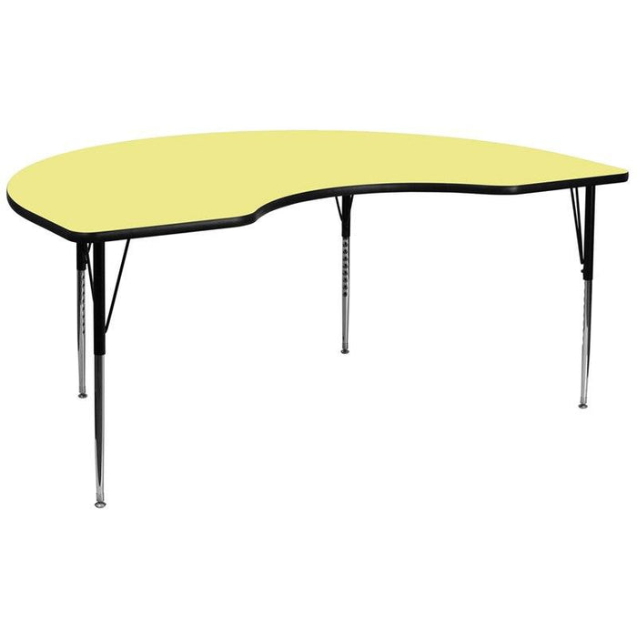 Flash Furniture XU-A4896-KIDNY-YEL-T-A-GG 48''W x 96''L Kidney Yellow Thermal Laminate Activity Table - Standard Height Adjustable Legs
