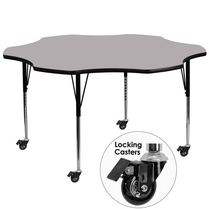 Flash Furniture XU-A60-FLR-GY-T-A-CAS-GG Mobile 60'' Flower Grey Thermal Laminate Activity Table - Standard Height Adjustable Legs