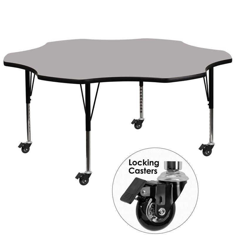 Flash Furniture XU-A60-FLR-GY-T-P-CAS-GG Mobile 60'' Flower Grey Thermal Laminate Activity Table - Height Adjustable Short Legs