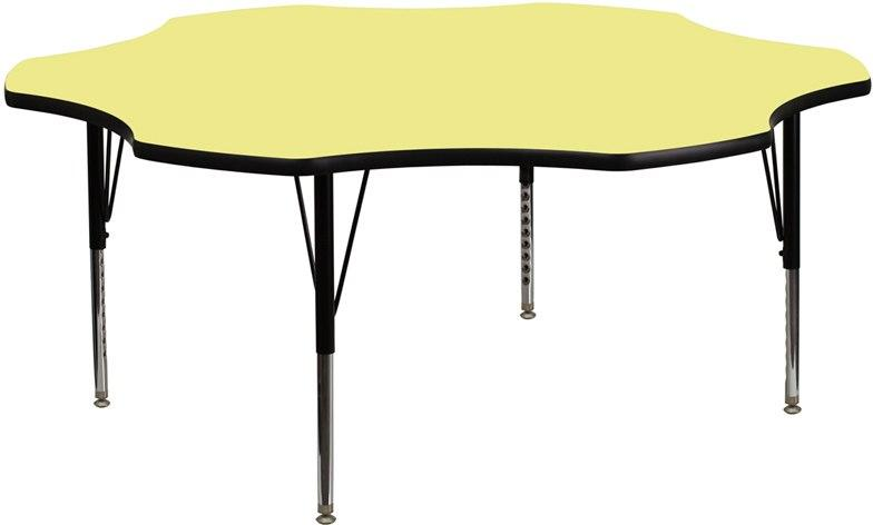 Flash Furniture XU-A60-FLR-YEL-T-P-GG 60'' Flower Yellow Thermal Laminate Activity Table - Height Adjustable Short Legs