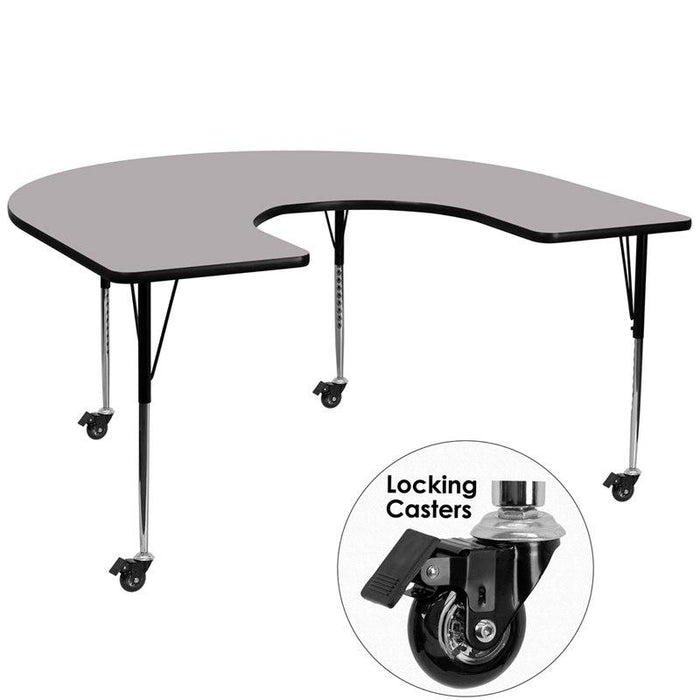 Flash Furniture XU-A6066-HRSE-GY-T-A-CAS-GG Mobile 60''W x 66''L Horseshoe Grey Thermal Laminate Activity Table - Standard Height Adjustable Legs