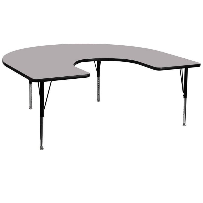 Flash Furniture XU-A6066-HRSE-GY-T-P-GG 60''W x 66''L Horseshoe Grey Thermal Laminate Activity Table - Height Adjustable Short Legs