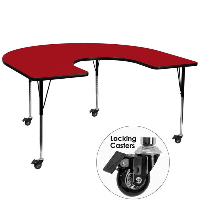 Flash Furniture XU-A6066-HRSE-RED-T-A-CAS-GG Mobile 60''W x 66''L Horseshoe Red Thermal Laminate Activity Table - Standard Height Adjustable Legs