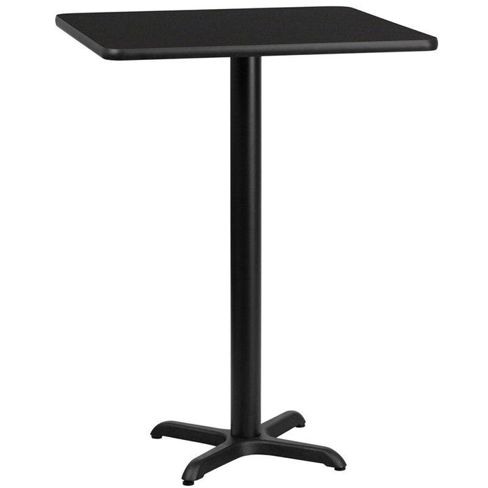 Flash Furniture XU-BLKTB-2424-T2222B-GG 24'' Square Black Laminate Table Top with 22'' x 22'' Bar Height Table Base