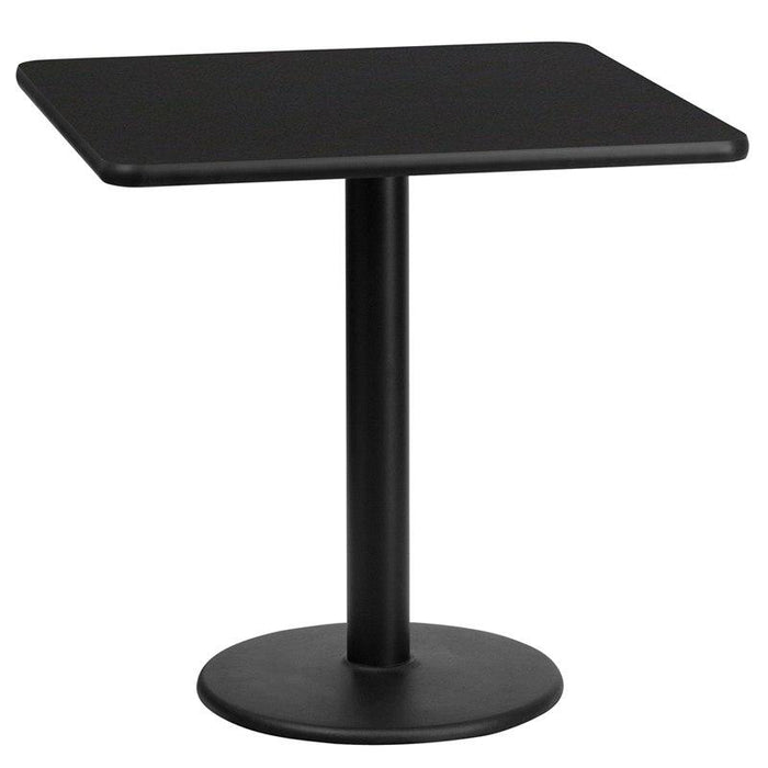 Flash Furniture XU-BLKTB-2424-TR18-GG 24'' Square Black Laminate Table Top with 18'' Round Table Height Base