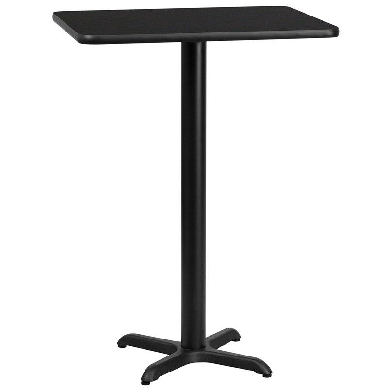 Flash Furniture XU-BLKTB-2430-T2222B-GG 24'' x 30'' Rectangular Black Laminate Table Top with 22'' x 22'' Bar Height Table Base