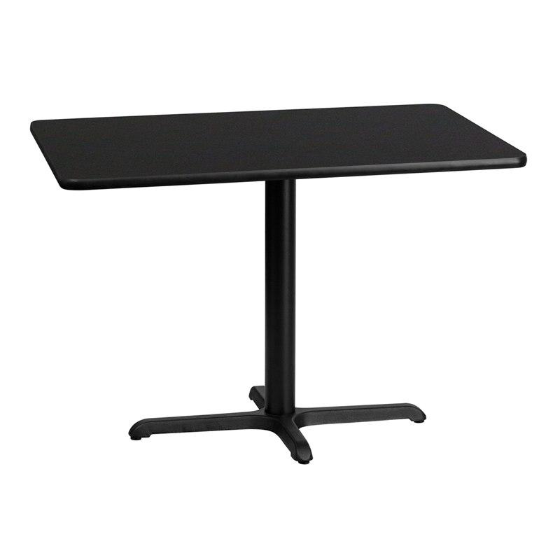 Flash Furniture XU-BLKTB-3042-T2230-GG 30'' x 42'' Rectangular Black Laminate Table Top with 22'' x 30'' Table Height Base