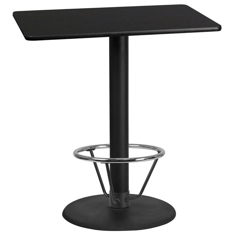 Flash Furniture XU-BLKTB-3042-TR24B-4CFR-GG 30'' x 42'' Rectangular Black Laminate Table Top with 24'' Round Bar Height Table Base and Foot Ring