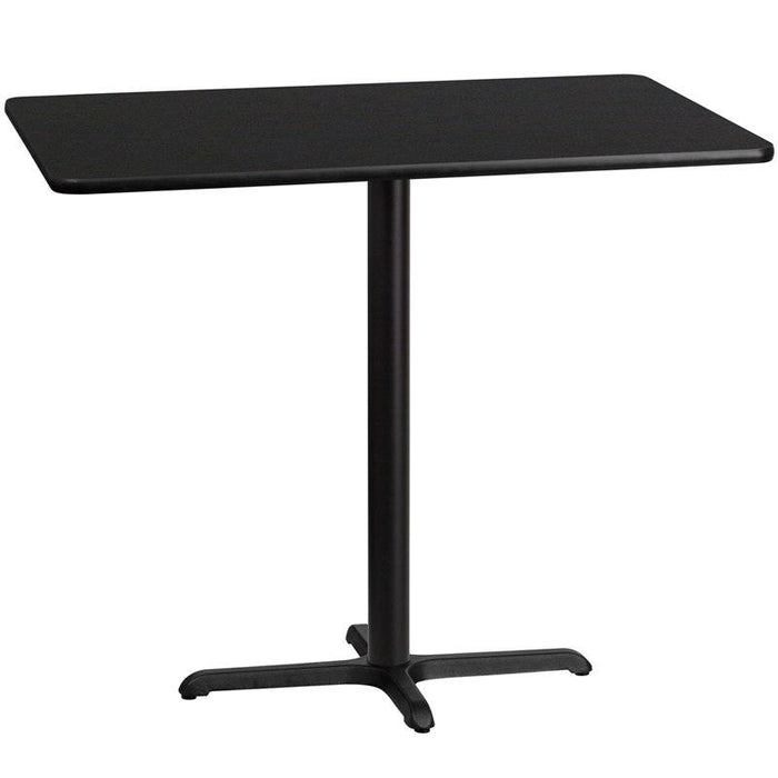 Flash Furniture XU-BLKTB-3048-T2230B-GG 30'' x 48'' Rectangular Black Laminate Table Top with 22'' x 30'' Bar Height Table Base