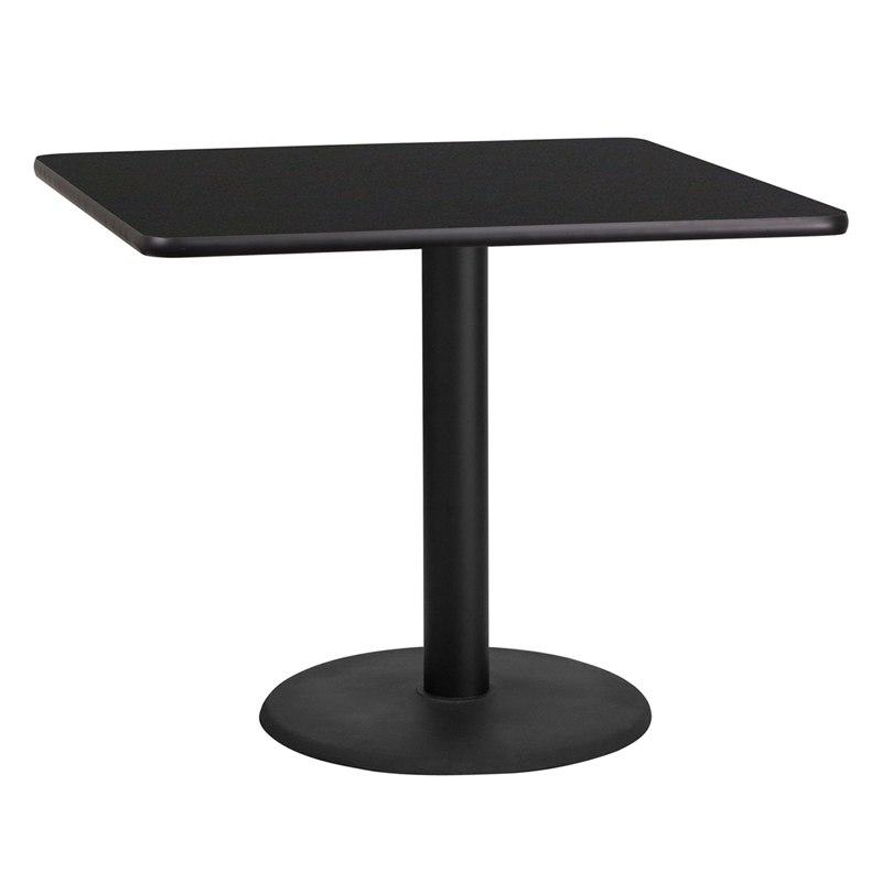 Flash Furniture XU-BLKTB-3636-TR24-GG 36'' Square Black Laminate Table Top with 24'' Round Table Height Base