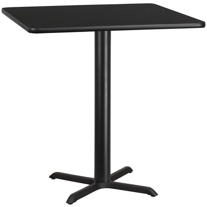 Flash Furniture XU-BLKTB-4242-T3333-GG 42'' Square Black Laminate Table Top with 33'' x 33'' Table Height Base