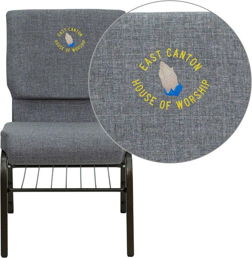 Flash Furniture XU-CH-60096-BEIJING-GY-BAS-EMB-GG Embroidered HERCULES Series 18.5''W Church Chair in Gray Fabric with Book Rack - Gold Vein Frame