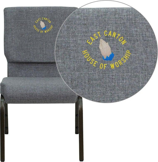 Flash Furniture XU-CH-60096-BEIJING-GY-EMB-GG Embroidered HERCULES Series 18.5''W Stacking Church Chair in Gray Fabric - Gold Vein Frame