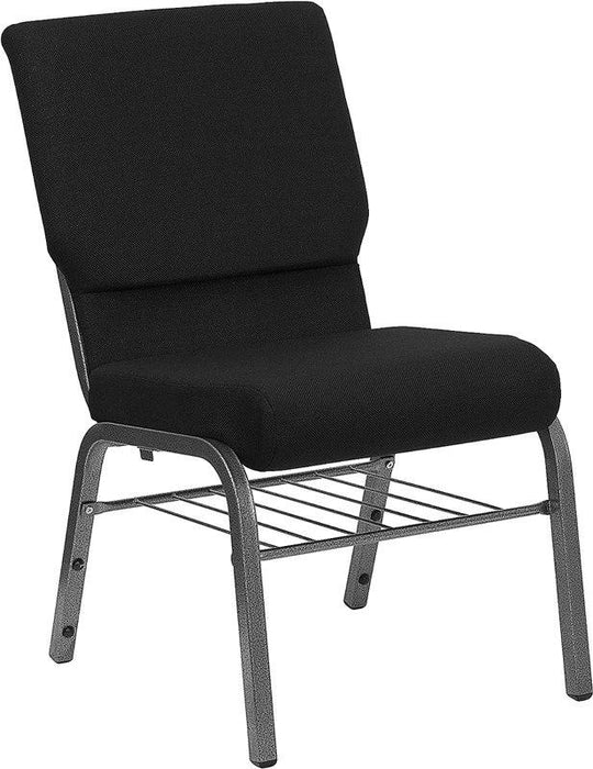 Flash Furniture XU-CH-60096-BK-SV-BAS-GG HERCULES Series 18.5''W Church Chair in Black Fabric with Book Rack - Silver Vein Frame