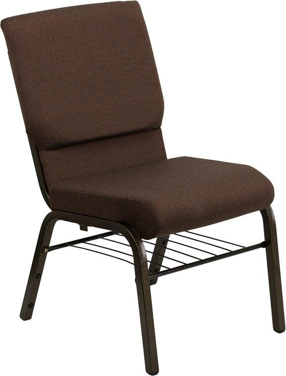 Flash Furniture XU-CH-60096-BN-BAS-GG HERCULES Series 18.5''W Church Chair in Brown Fabric with Book Rack - Gold Vein Frame