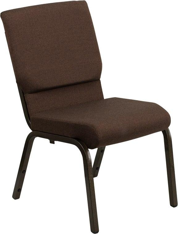 Flash Furniture XU-CH-60096-BN-GG HERCULES Series 18.5''W Stacking Church Chair in Brown Fabric - Gold Vein Frame
